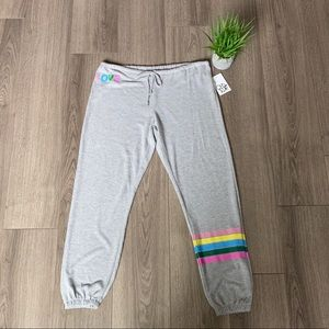Chaser Love Rainbow Stripe Sweatpants Size Large